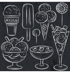 Set of different ice cream on blackboard vector