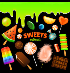set of sweet candies halloween decorated elements vector image