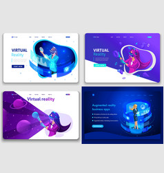 set web page design templates for website vector image
