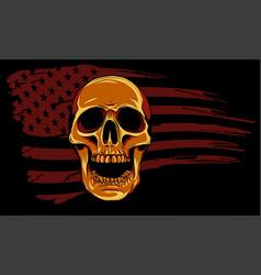 Skull and flag usa design vector