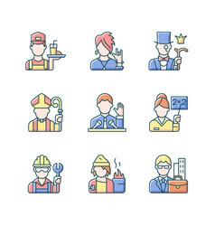 social class rgb color icons set vector image