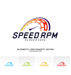 speed logo design fast speedometer logo design vector image