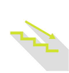 stair down with arrow pear icon with flat style vector image