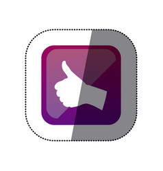 Sticker color square with hand signal ok vector