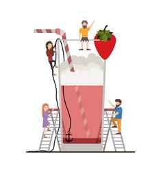 Teamwork mini people doing strawberry juice vector