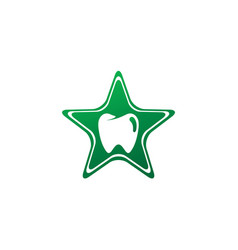teeth care symbol in star shape for dentist vector image