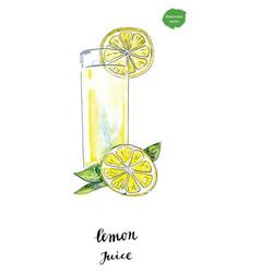 Watercolor glass of summer lemon juice vector