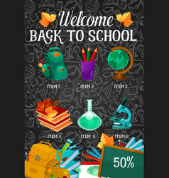 welcome back to school sale offer banner design vector image