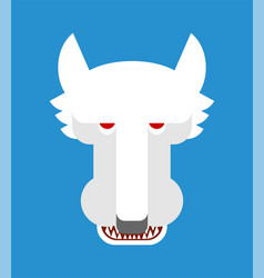 White wolf face isolated snow predator beast vector