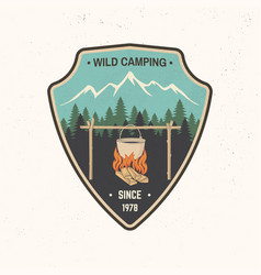 wild camping patch vector image