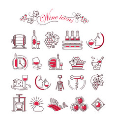 Wine accessory winemaking icons glass vector