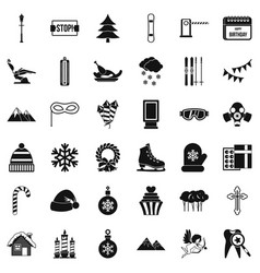 winter decoration icons set simple style vector image