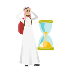worried muslim traveler man looking at hourglass vector image
