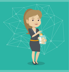 Young woman putting bitcoin coin into glass jar vector