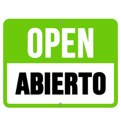 Abierto sign in black and green vector image vector image