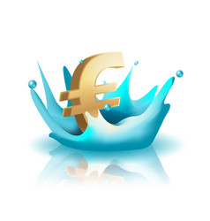 currency water splash gold euro vector image vector image