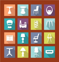 design furniture icons set interior- vector image