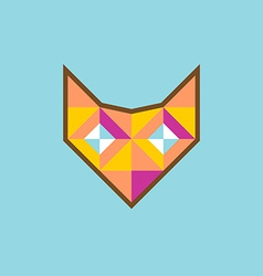 Geometric fox head logo with diamond eyes vector image