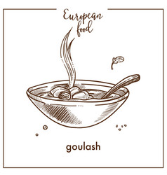 goulash soup sketch icon for european hungarian vector image