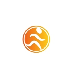 Isolated abstract orange color running man logo vector image