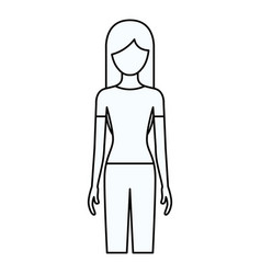 sketch silhouette of faceless front view woman vector image vector image
