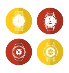 Watch icons set in color circles vector image