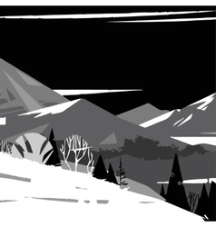 black and white image of stylized mountains vector image vector image