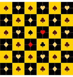 Card Suits Yellow Black Chess Board Background vector image