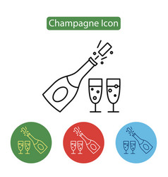 champagne bottle explosion with cheering glasses vector image vector image