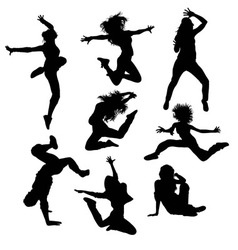 Modern Dance and Hip Hop Silhouettes vector image vector image