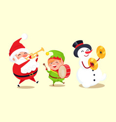 santa claus with elf and snowman playing music vector image