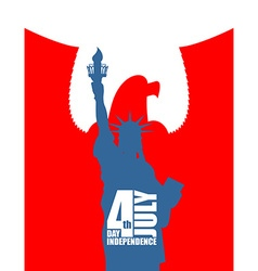 Statue of Liberty on background of red eagle vector image vector image