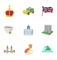 Tourism in United Kingdom icons set cartoon style vector image vector image
