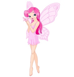 Cute pink fairy with butterfly vector image vector image
