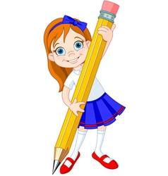 girl pencil vector image vector image