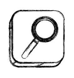 monochrome sketch of square button with magnifying vector image vector image
