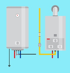 Set of gas water heater and electric water heater vector image