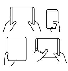 Different variations of holding a modern gadget vector image vector image
