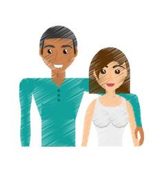 drawing multiracial couple beautiful vector image