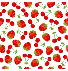 Seamless strawberry and cherry pattern vector image