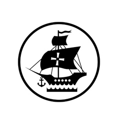 Ship with flag of Columbus icon simple style vector image vector image