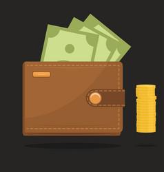 wallet full of money vector image vector image