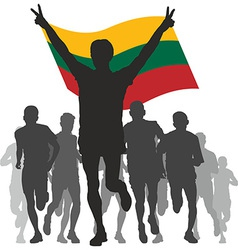 Winner with the lithuania flag at the finish vector