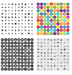 100 asian icons set variant vector