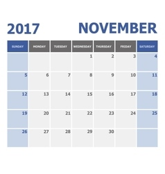 2017 november calendar week starts on sunday vector