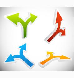 3d 2 way arrow shapes set - arrow design elements vector