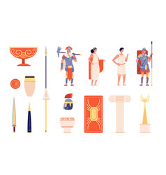ancient rome elements people and weapons vector image