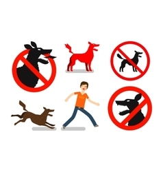 Angry mad dog Beware sign icons set vector