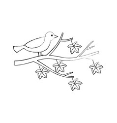 autumn beautiful bird in branch and leaves vector image