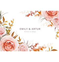 autumn floral wedding invite card poster design vector image